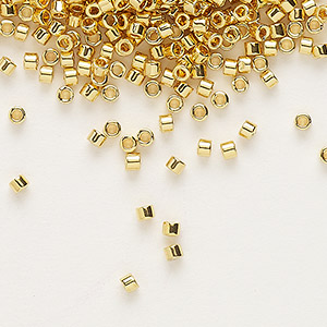 seed bead, delica, glass, opaque bright 24kt gold-finished, (db31), #11 round. sold per 250-gram pkg.
