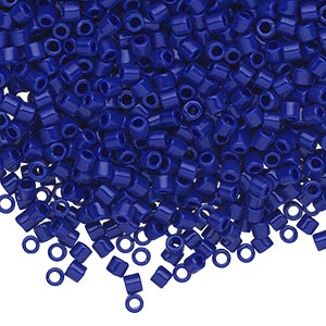 seed bead, delica, glass, opaque cobalt blue, (dbl726), #8 round, 1.5mm hole. sold per 250-gram pkg.