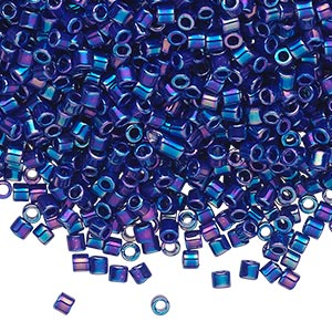 seed bead, delica, glass, opaque cobalt rainbow, (dbl165), #8 round, 1.5mm hole. sold per 7.5-gram pkg.