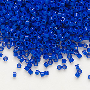 seed bead, delica, glass, opaque dark blue, (db726), #11 round. sold per 50-gram pkg.