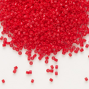 seed bead, delica, glass, opaque dark red, (db723), #11 round. sold per 7.5-gram pkg.