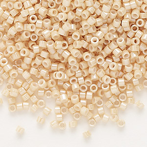 seed bead, delica, glass, opaque glazed luster beige, (db0205), #11 round. sold per 50-gram pkg.