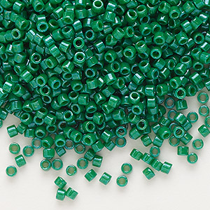seed bead, delica, glass, opaque green, (db656), #11 round. sold per 50-gram pkg.