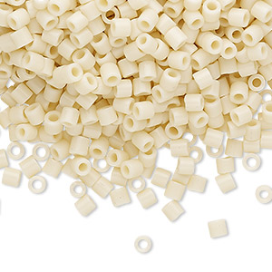 seed bead, delica, glass, opaque ivory, (dbl0732), #8 round. sold per 250-gram pkg.