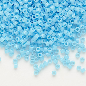 seed bead, delica, glass, opaque light blue, (db725), #11 round. sold per pkg of 250 grams.