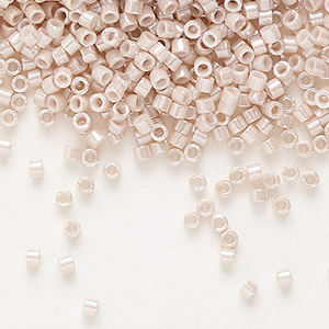 seed bead, delica, glass, opaque luster blush, (db1535), #11 round. sold per 7.5-gram pkg.