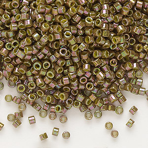 seed bead, delica, glass, opaque luster rainbow olive, (db133), #11 round. sold per 50-gram pkg.
