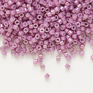 seed bead, delica, glass, opaque luster rose, (db253), #11 round. sold per 7.5-gram pkg.
