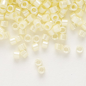 seed bead, delica, glass, opaque luster yellow, (db1531), #11 round. sold per 7.5-gram pkg.