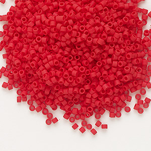 seed bead, delica, glass, opaque matte brick red, (db753), #11 round. sold per 50-gram pkg.