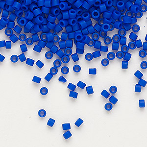 seed bead, delica, glass, opaque matte cobalt blue, (db756), #11 round. sold per 7.5-gram pkg.