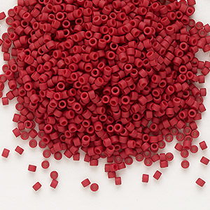 seed bead, delica, glass, opaque matte dark red, (db796), #11 round. sold per 7.5-gram pkg.