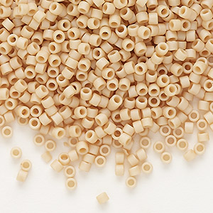 seed bead, delica, glass, opaque matte glazed luster pale brick, (db0389), #11 round. sold per 7.5-gram pkg.
