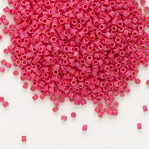 seed bead, delica, glass, opaque matte luster cranberry, (db362), #11 round. sold per 50-gram pkg.