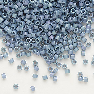 seed bead, delica, glass, opaque matte luster rainbow patriot blue, (db376), #11 round. sold per pkg of 250 grams.