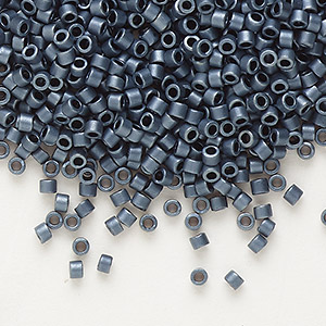 seed bead, delica, glass, opaque matte metallic luster grey blue, (db301), #11 round. sold per 7.5-gram pkg.