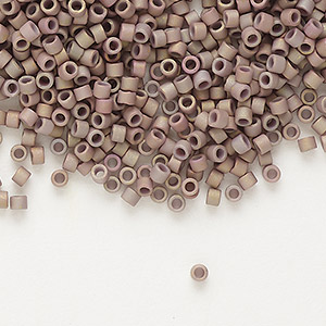 seed bead, delica, glass, opaque matte metallic luster rainbow rose, (db1061), #11 round. sold per pkg of 250 grams.
