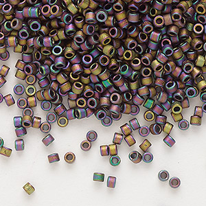 seed bead, delica, glass, opaque matte metallic luster rainbow soft gold, (db1056), #11 round. sold per 7.5-gram pkg.