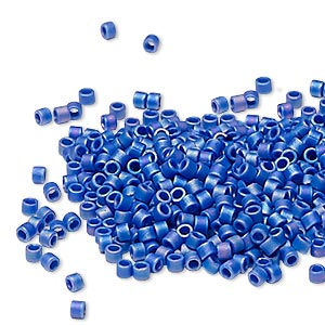 seed bead, delica, glass, opaque matte rainbow cobalt blue, (db880), #11 round. sold per pkg of 250 grams.