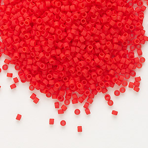 seed bead, delica, glass, opaque matte red, (db757), #11 round. sold per 50-gram pkg.