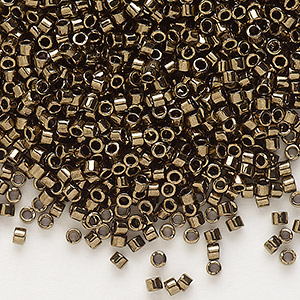 seed bead, delica, glass, opaque metallic bronze, (db22), #11 round. sold per pkg of 250 grams.