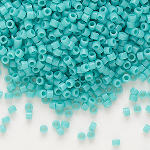seed bead, delica, glass, opaque mint green, (db729), #11 round. sold per pkg of 250 grams.