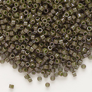 seed bead, delica, glass, opaque olive, (db657), #11 round. sold per 7.5-gram pkg.