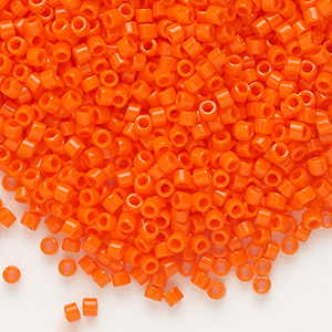 seed bead, delica, glass, opaque orange, (db722), #11 round. sold per 50-gram pkg.