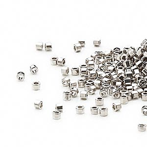 seed bead, delica, glass, opaque palladium-finished, (dbc0038), #11 cut. sold per 50-gram pkg.