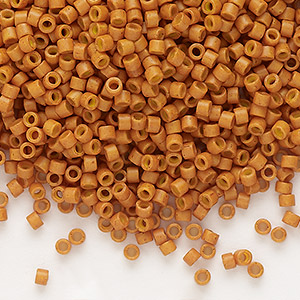 seed bead, delica, glass, opaque pumpkin, (db653), #11 round. sold per 7.5-gram pkg.