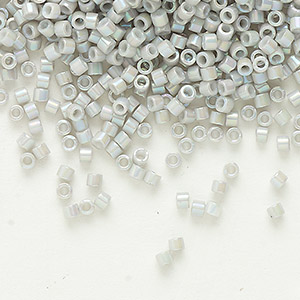 seed bead, delica, glass, opaque rainbow ash, (db1508), #11 round. sold per 7.5-gram pkg.