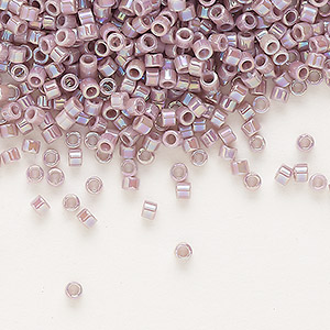 seed bead, delica, glass, opaque rainbow lavender cream, (db158), #11 round. sold per 7.5-gram pkg.