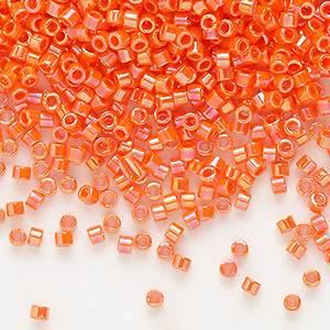 seed bead, delica, glass, opaque rainbow orange, (db161), #11 round. sold per 7.5-gram pkg.