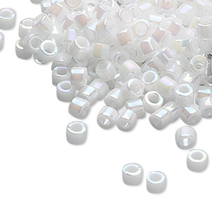 seed bead, delica, glass, opaque rainbow pearl, (db202), #11 round. sold per pkg of 250 grams.