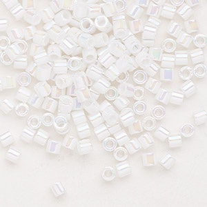 seed bead, delica, glass, opaque rainbow pearl, (dbl202), #8 round. sold per 7.5-gram pkg.
