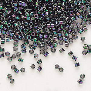seed bead, delica, glass, opaque rainbow purple rose, (db1001), #11 round. sold per 7.5-gram pkg.