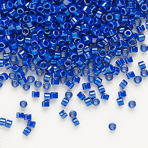 seed bead, delica, glass, opaque rainbow royal blue, (db216), #11 round. sold per 50-gram pkg.