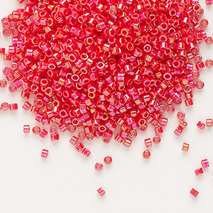 seed bead, delica, glass, opaque rainbow sunset red, (db159), #11 round. sold per 50-gram pkg.