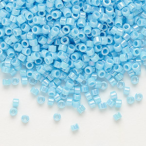 seed bead, delica, glass, opaque rainbow turquoise blue, (db164), #11 round. sold per 50-gram pkg.