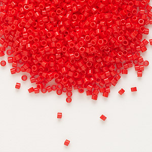 seed bead, delica, glass, opaque red, (db727), #11 round. sold per 7.5-gram pkg.