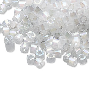 seed bead, delica, glass, opaque silk rainbow white, (db670), #11 round. sold per 50-gram pkg.