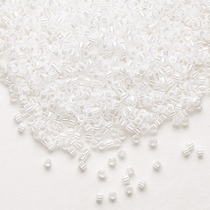 seed bead, delica, glass, opaque white luster pearl, (db0201), #11 round. sold per 50-gram pkg.