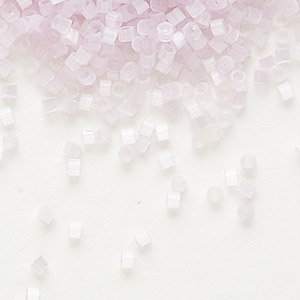 seed bead, delica, glass, silk pale pink, (db820), #11 round. sold per 7.5-gram pkg.