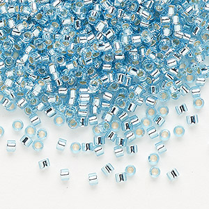 seed bead, delica, glass, silver-lined aqua blue, (db44), #11 round. sold per pkg of 250 grams.