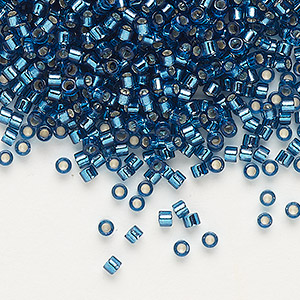 seed bead, delica, glass, silver-lined blue zircon, (db608), #11 round. sold per 7.5-gram pkg.