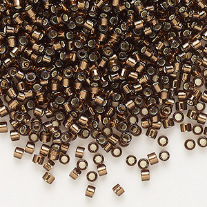 seed bead, delica, glass, silver-lined chocolate, (db150), #11 round. sold per 7.5-gram pkg.