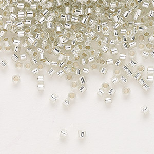 seed bead, delica, glass, silver-lined clear, (db1431), #11 round. sold per 50-gram pkg.