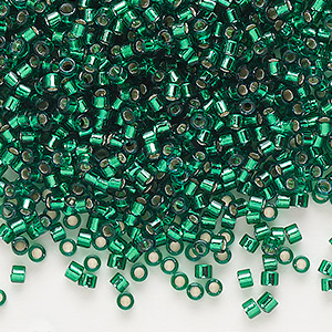 seed bead, delica, glass, silver-lined emerald green, (db605), #11 round. sold per 50-gram pkg.