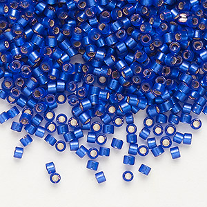 seed bead, delica, glass, silver-lined frosted cobalt, (db696), #11 round. sold per 50-gram pkg.