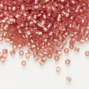 seed bead, delica, glass, silver-lined frosted dark rose, (db685), #11 round. sold per 50-gram pkg.